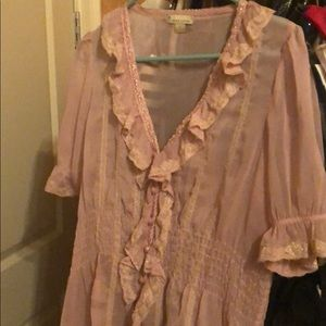 Pink Sumer Blouse Lace Transparent Beautiful